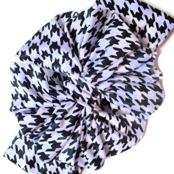 Houndstooth Messy Bow Headwrap, Black and white Messy Bow Head wrap