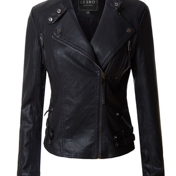 LE3NO Womens Faux Leather Fully Lined Long Sleeve Moto Biker Jacket
