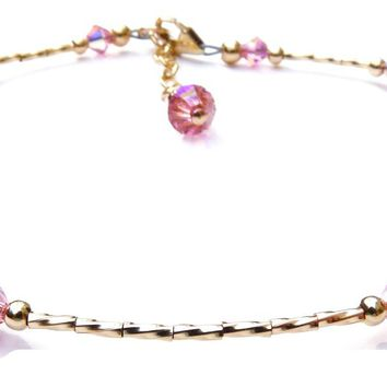 Pink Tourmaline October Gold Handmade Crystal Birthstone Beaded Anklets Bracelets