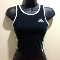 90s Black & White Adidas Fitted Crop Top