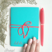Pocket Notebook *  Teal Notebook * Diary * Small Journal * Gift * Blank Notebook * Geometric * Diary *  Embroidered Notebook * Cahier * Red
