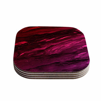 "Ebi Emporium ""Agate Magic - Red Pink Plum"" Deep Purple Coasters (Set of 4)"