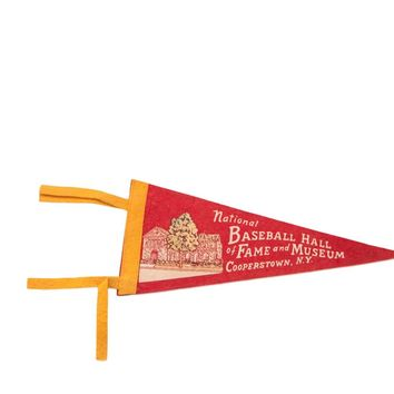 Red National Baseball Hall of Fame Cooperstown NY Felt Flag