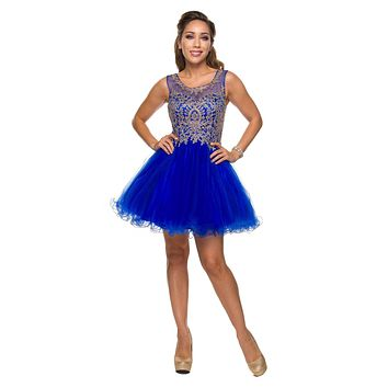 Juliet 758 Royal Blue Gold Applique Embroidery Tulle Homecoming Dress