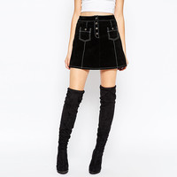 Retro Single Breasted A-line Slim Suede Cloth High Waist Mini Skirts Quality Brand Spring Ar