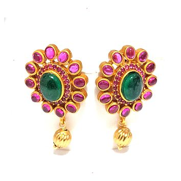High quality kemp stone embedded matte gold finish oval stud Earring