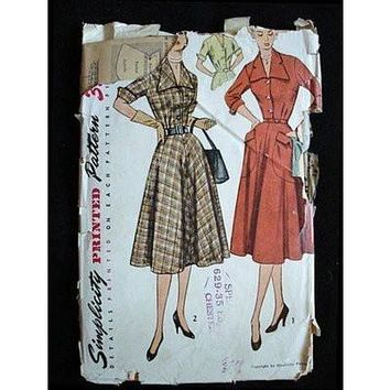 Vintage Sewing Pattern Simplicity #3691 Dress Gig Collar 1940S