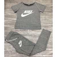 Nike Fashion Print Sport Gym Running Shirt Pants Set Two-Piece Sportswear