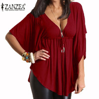 Summer Women Blouses Casual Loose Sexy V-Neck Batwing Sleeve Tee Tops Ladies Solid Blouse Shirt Plus Size