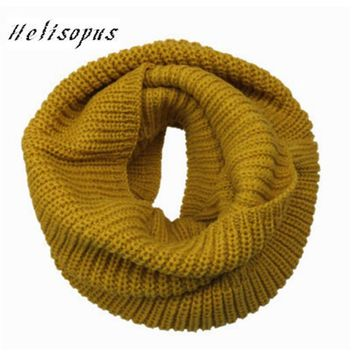 Helisopus Warm Scarves Two Circle Knitted Cowl Neck Long Shawls Hijab Men Women Winter Knitting Wool Collar Neck Warmer Scarf