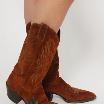 Vintage 80s JUSTIN Cowboy Boots Size 6.5 Brown Suede COWBOY Boots Western Boots With LEAF Detail