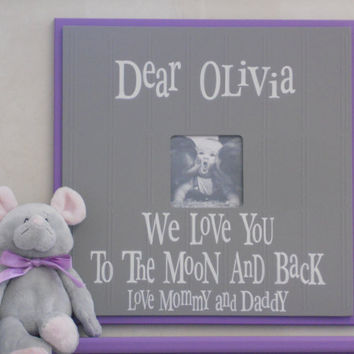Personalized Baby Picture Frame, Custom Photo Frame,  Baby Shower Gift, Christening, Grandparents Gift, New Parents Gift, Purple and Grey