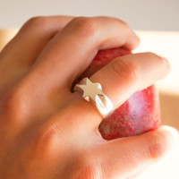 Silver Star Ring - Star Ring, Star Jewelry, Silver Star, Shooting Star Ring, Gift for her, Christmas Gift, Chunky Ring, Silver Ring
