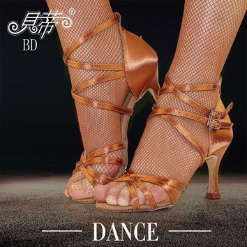 Sneakers Latin Dance Shoes Woman Salsa Shoes Ballroom Genuine BD 205 High Cost Performance Cowhide TSole Wear-resisting 7.5cm