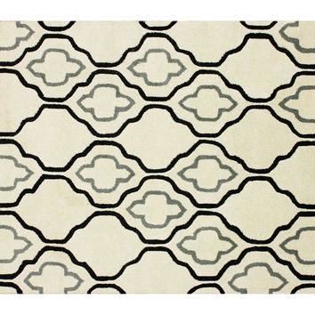 3'x5' Dellen Rug, Cream/Black, Area Rugs