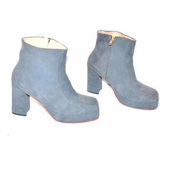 size 7 PLATFORM boots vintage 60s 1960s retro mod BOHO blue suede chunky platforms stacked toe DISCO hippie ankle booties
