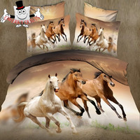 3D Bedding Store White Brown Horse Bedding and Quilt Cover Sets