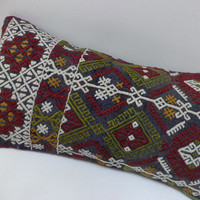 Turkish Kilim Pillow, Vintage Pillow, Throw Pillow,12X22 inch Ethnic Kelim Pillow, Anatolian Kilim Pillow,Handwoven Kilim Rug Pillow