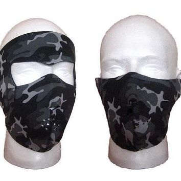 2 pcs Atanacc Neoprene Face Masks-Snow Camo Full and Hal-for Ski,Biking,cycling