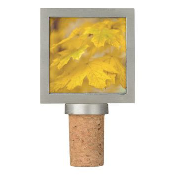 Yellow autumn maple leaves. wine stopper