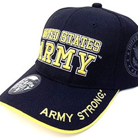 US ARMY STRONG LICENSED SEAL MILITARY BLACK HAT CAP