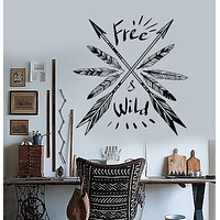 Vinyl Wall Decal Feathers Arrow Ethnic Decor Quote Art Room Stickers Unique Gift (ig3498)