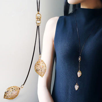 Shiny Gift New Arrival Stylish Jewelry Korean Leaf Sweater Chain Costume Accessory Necklace [10231543303]
