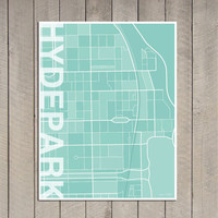 Hyde Park Chicago Illinois Contemporary Map Print by Printiquette