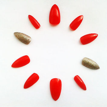 Red Stiletto Fake Nails, Hand Painted False Nails, Handpainted Artificial Nail Set, Gold Glitter Nail Art Design