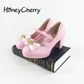 2017 New Gold Crown Color Butterfly Tie Cross Lolita Single Shoes  Women Shoes  sweet pumps cosplay shoes