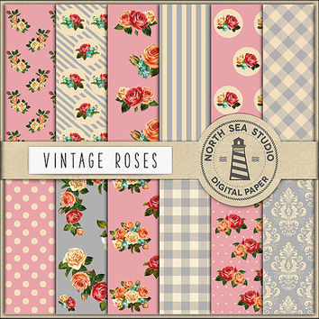 Roses Digital Paper Pack | Scrapbook Paper | Rose Pattern | Printable Backgrounds | 12 JPG, 300dpi Files | BUY5FOR8