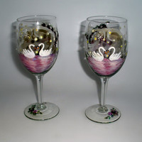 Made to Order -  Custom pair of Wedding Wine Glasses - Romantic Swans on the river, Roses, Lilies, glowing fireflies, stars and rhinestones