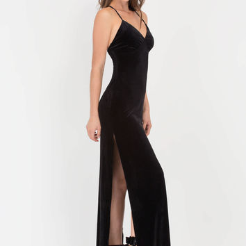 Spell On You Velvet Slit Maxi Dress GoJane.com