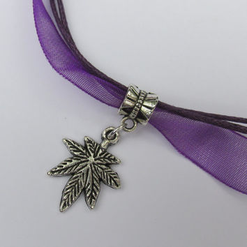 Purple Pot Leaf Necklace, Weed Jewelry, Purple Organza Ribbon, Pot Leaf Charm, Birthstone Option, Gift, MJ Necklace, 7 Leaf Cannibis Charm,