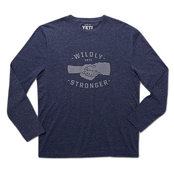 Wildly Stronger Handshake Long Sleeve Tee in Heather Navy by YETI