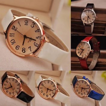 Women's Fashion Faux Bright Leather Strap Big Digit Style Analog Quartz Dress Wrist Watch YHS = 1932089092