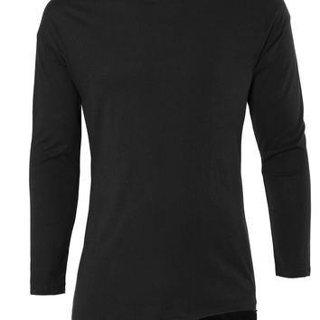 LE3NO Mens Lightweight Round Neck Raglan Long Sleeve Casual T Shirt (CLEARANCE)