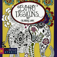 Boho Designs Adult Coloring and Activity Book 18 Designs
