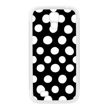 White Dots on Black Polka Dot Pattern White Silicon Rubber Case for Galaxy S4 by UltraCases