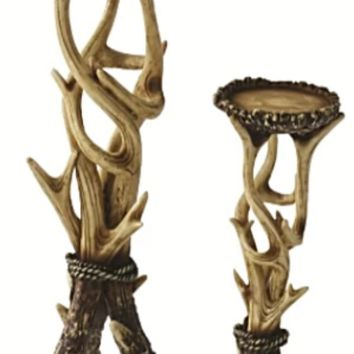 Cowgirl Kim Antler Candle Holder 2pc. Set