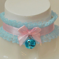 Ring of love - fairy kei pastel kawaii cute lolita kitten pet play ddlg - pink and blue lace collar with bell