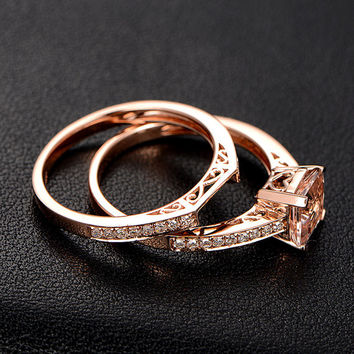 VVS1 Morganite Engagement Ring with Diamonds Matching Wedding Band,14K Rose Gold