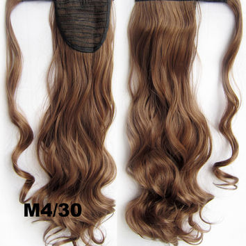 Ponytail Hair Extension Heat Proof Synthetic Wrap Around Invisable Long wavy Velcro Ponytail Hair Extension Clip In on Hair Pony Tail,Wig Hairpiece,woman wigs,wig hairs,Bath & Beauty,Accessories BIP-888 M4/30