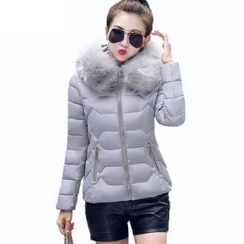 Womens Winter Jackets And Coats 2017 Womens Parkas Thick Warm Faux Fur Collar Hooded Anorak Ladies Jacket Female Manteau Jacket