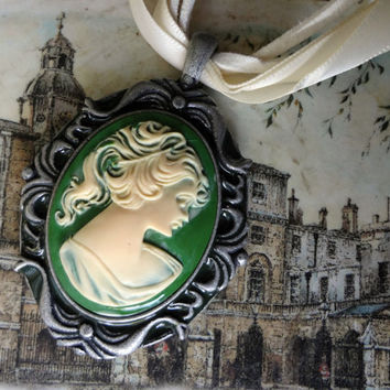 Green Cameo on White Ribbon and Suede by EudaimoniaJewelry on Etsy