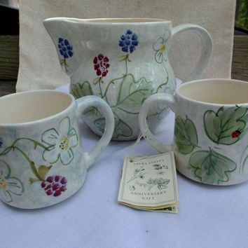 Hand Painted Laura Ashley 1993 Pitcher and Mugs 40th Anniversary Gift Set England