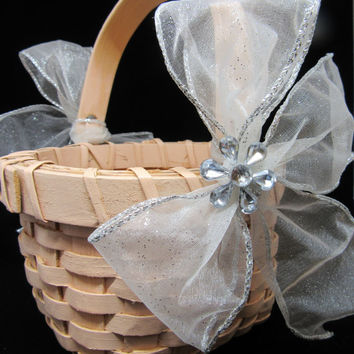 Vintage Round Peach Woven Flower Girl Basket-White Bows-Crystal Bling Flowers-Wedding-Gift-Storage-Home Decor-Country Decor-Cottage Chic-
