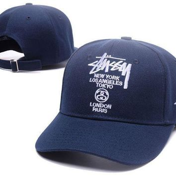 Trendy Navy Blue Stussy Embroidered Outdoor Baseball Cap Hats