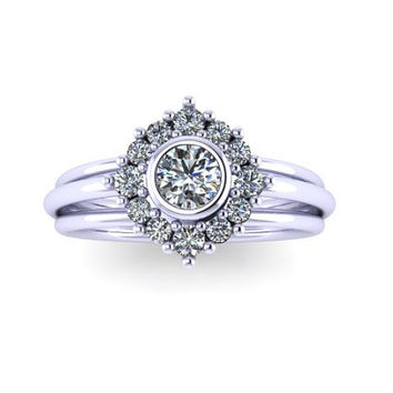 Cluster Halo Engagement Ring, Moissanite Engagement Ring, Diamond Floral Ring, Promise Ring, Right Hand Ring, RE0001