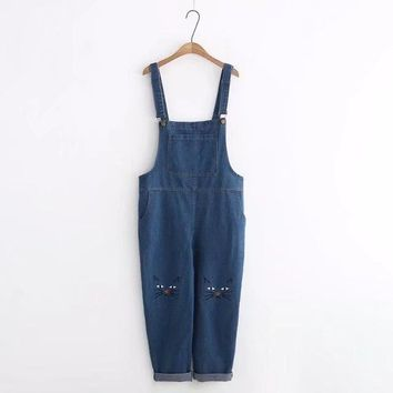 Women's Classic Adjustable Strap Denim Bib With Pockets  Jumppsuit, Overalls